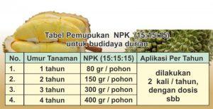 tabel pemupukan pohon durian