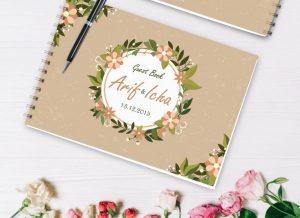 buku tamu sampul bunga elegan